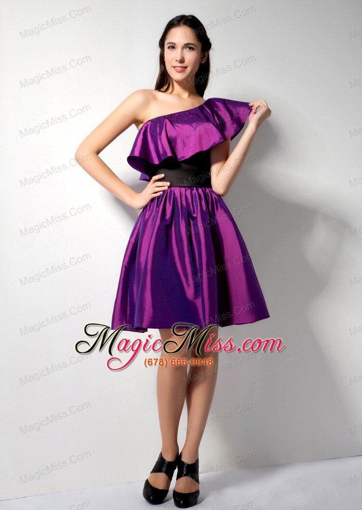 The Most Popular Eggplant Purple A-line One Shoulder Knee-length ...