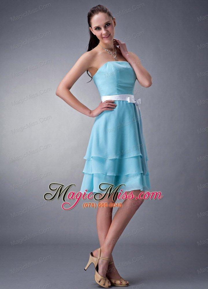 Aqua Blue Chiffon Knee Length Bridesmaid Dresses