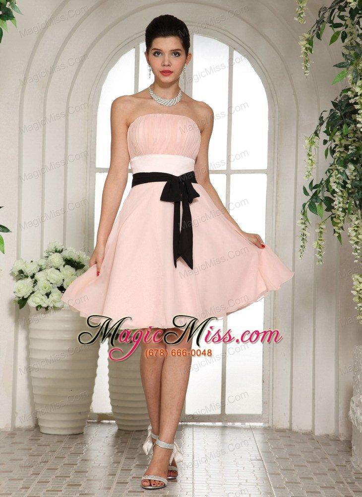 Baby Pink Bridesmaid Dress With Black Sash Knee-length - US$101.68