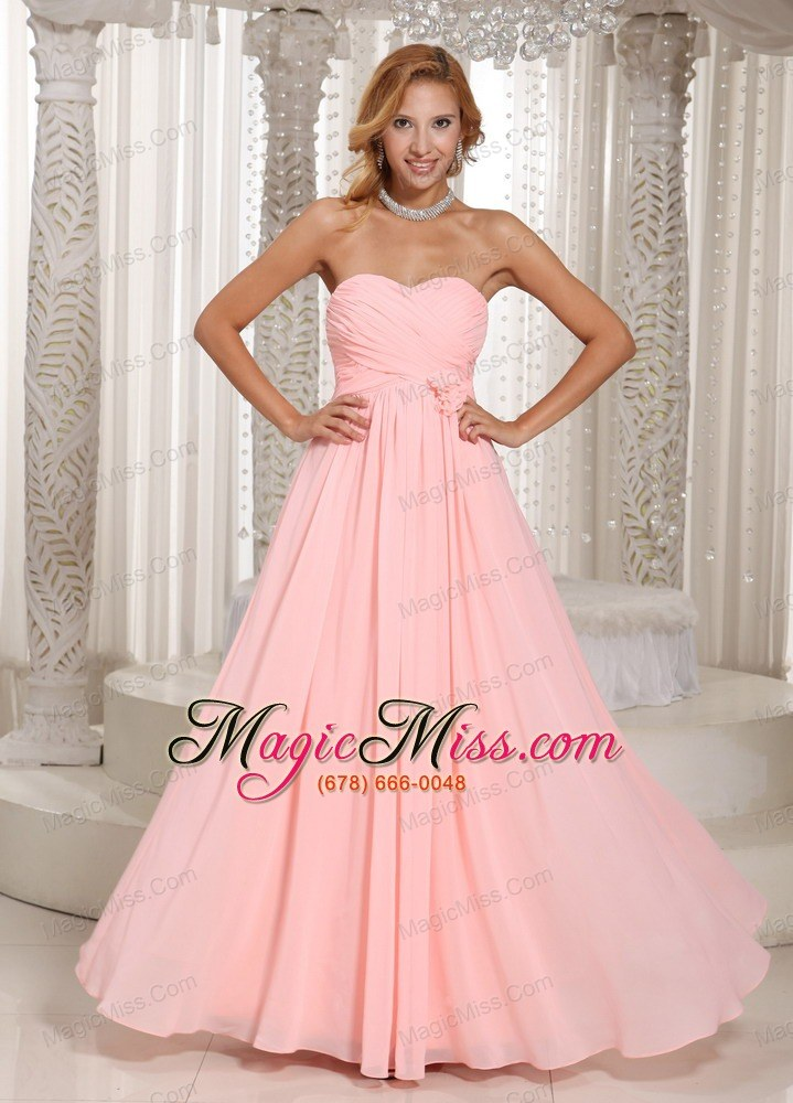 Baby Pink Stylish Prom Dress Ruched Bodice Chiffon For Prom - US$126.89