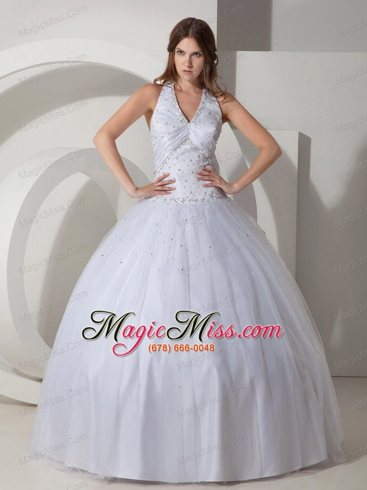 White Ball Gown Halter Floor-length Taffeta Beading Quinceanera ...