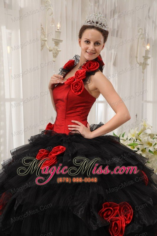 Red and Black Ball Gown Halter Floor-length Taffeta and Organza Hand ...