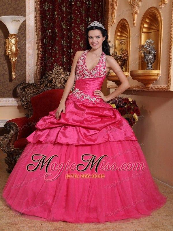 Hot Pink Ball Gown Halter Floor-length Taffeta Appliques Quinceanera ...