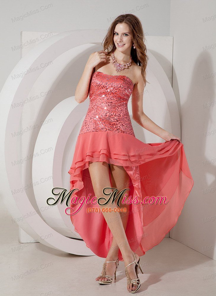 Watermelon Red Empire Strapless High-low Chiffon and Sequin Prom ...