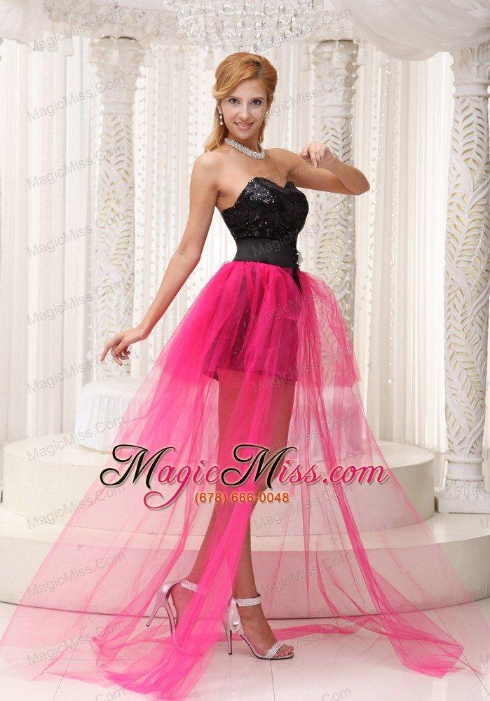 Hot Pink High-low Celebrity Dress For 2013 Black Paillette Over ...