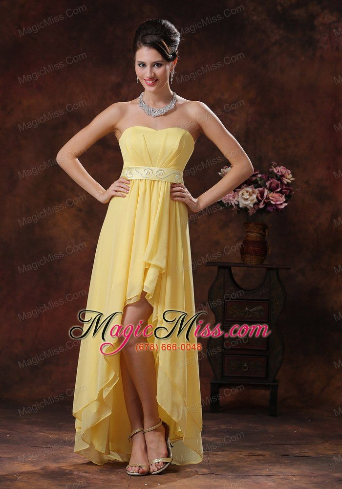 2013 Nogales Arizona New Style Yellow High-low Prom Dress With Belt ...