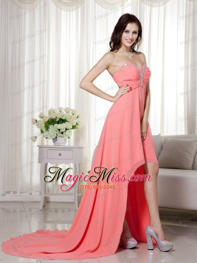 Watermelon Empire Sweetheart High-low Chiffon Beading and Ruch Prom ...