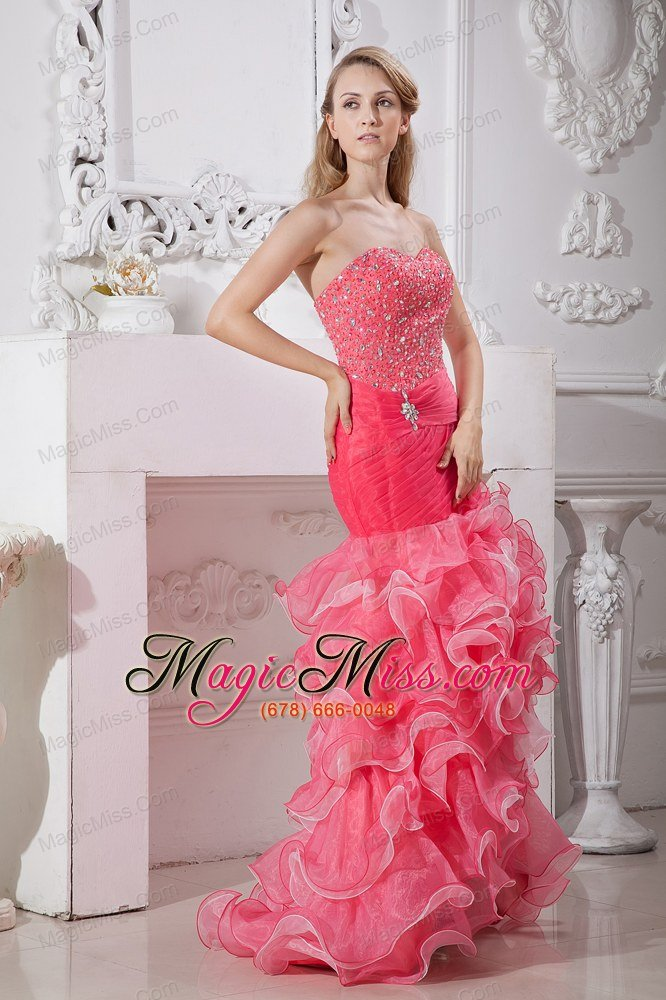 Beautiful Coral Red and Light Pink Mermaid High-low Prom Dress with ...