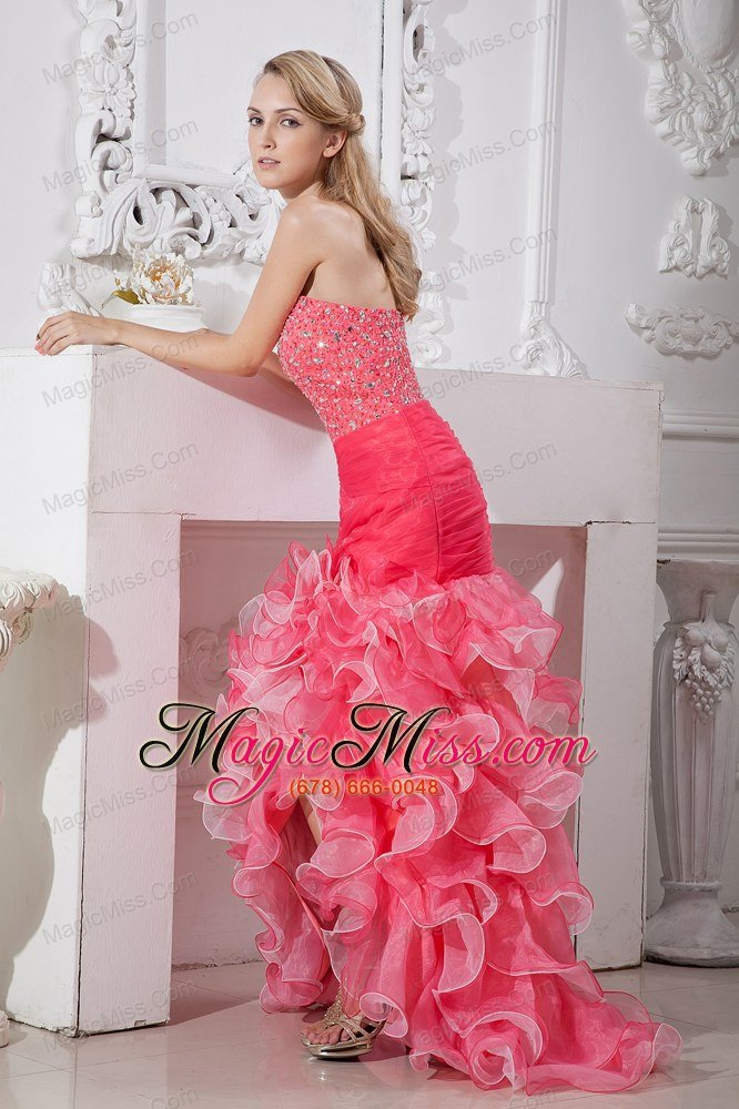 Coral red color dresses for prom