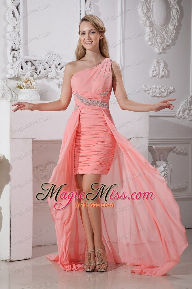 Watermelon Red Column One Shoulder High-low Chiffon Beading Prom ...