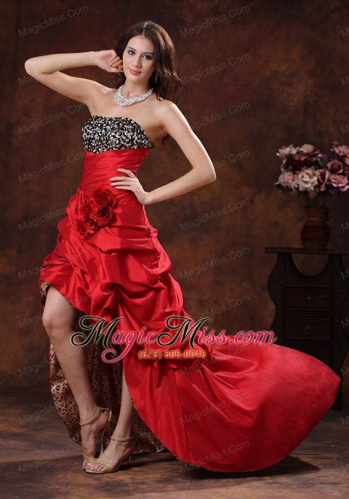 Red Leopard High-low Prom Dress Clearances With Beaded and ...
