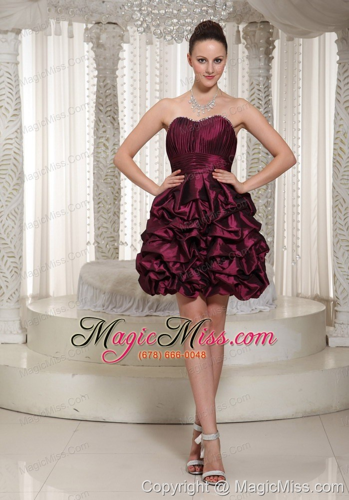 Short Lace-up Burgundy 2013 Prom Dress With Strapless Pich-ups - US ...