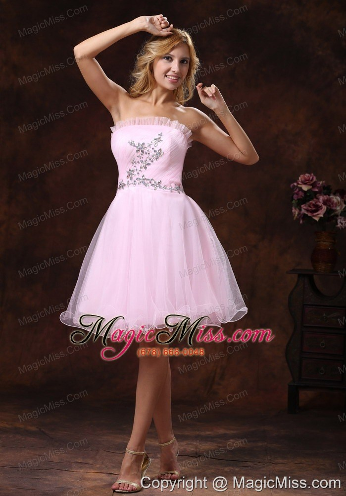 Strapless Baby Pink and Custom Made For 2013 Prom Dress With Beading ...