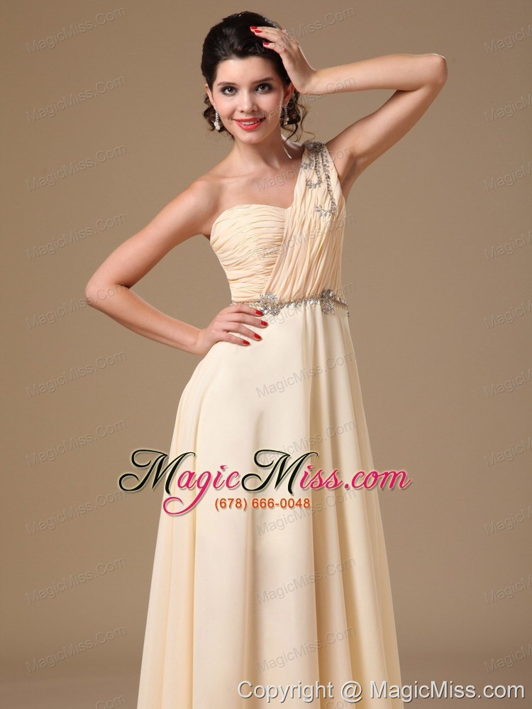 wholesale champagne one shoulder empire prom dress with 2013 new styles beaded decorate shoulder for customize