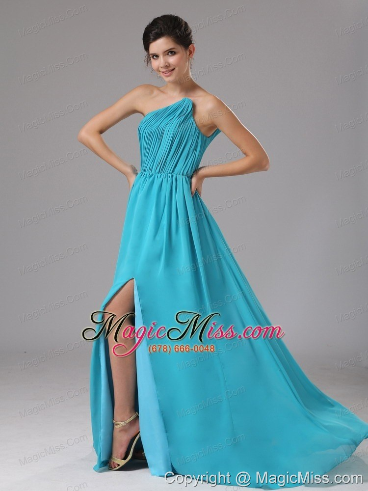 wholesale strapless chiffon high slit aqua blue brush/sweep prom dress ruched in battle creek michigan