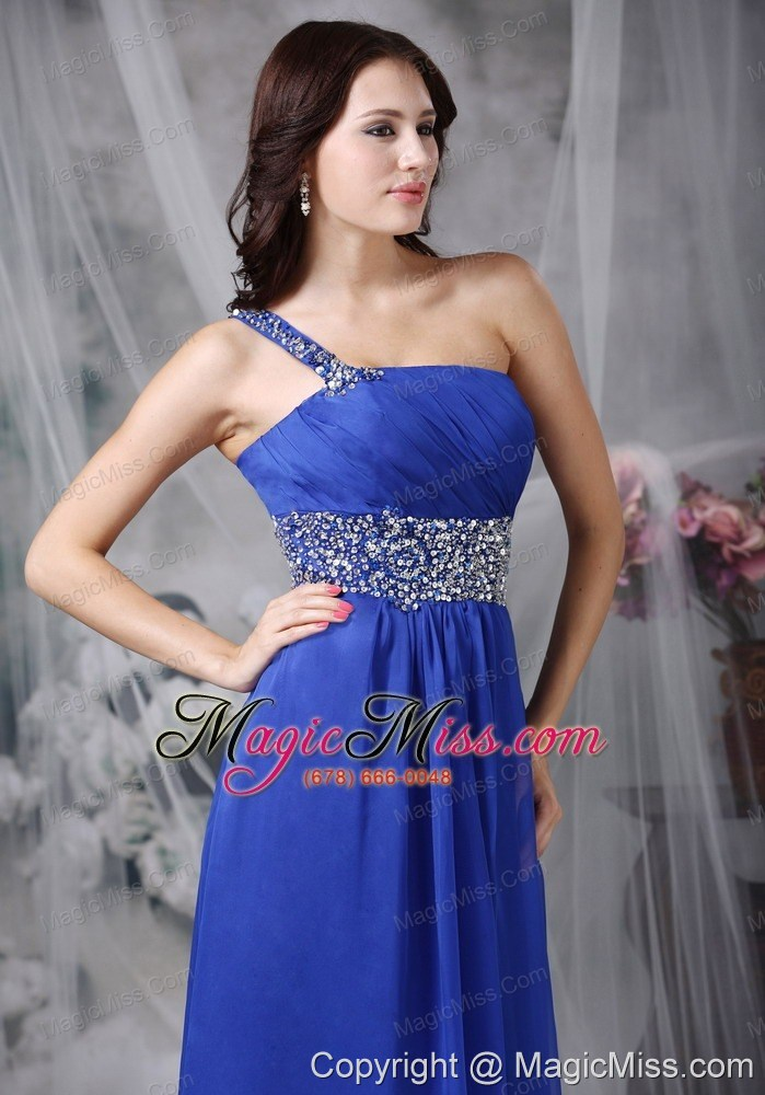 wholesale royal blue empire one shoulder floor-length beading chiffon prom dress