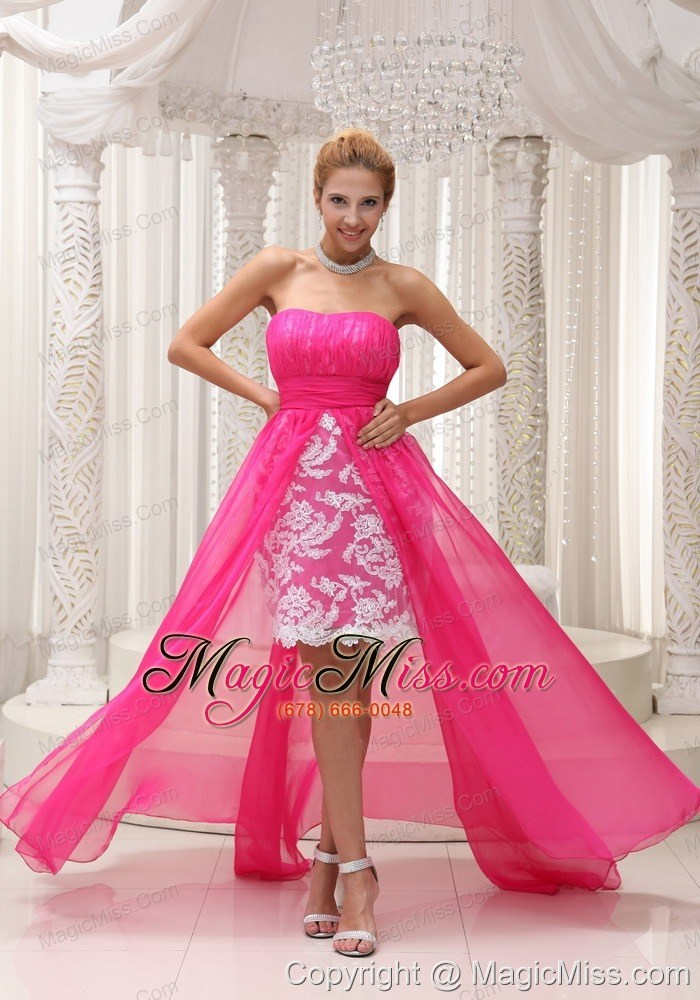 Hot Pink High-low Prom Dress For 2013 Ruched Bodice Chiffon ...