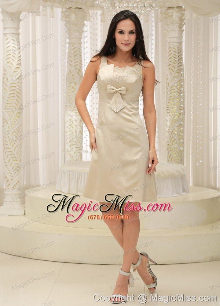 abf70e717dd wholesale straps champagne appliques decorate bust knee-length mother of  the bride dress with bowknot ...