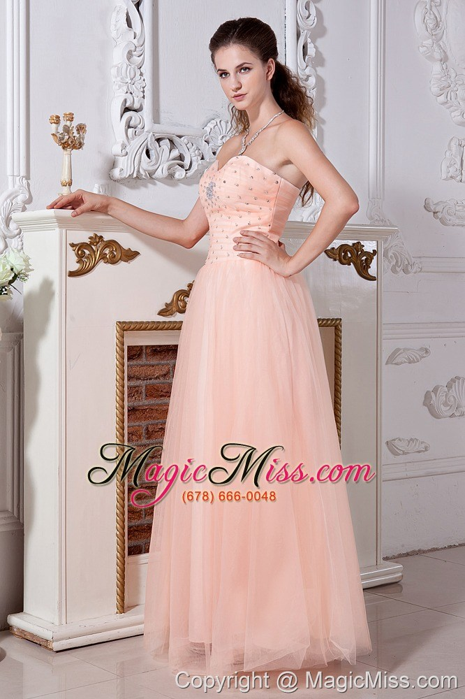 Light Peach Prom Dress Empire Sweetheart Tulle Beading - US$137.48