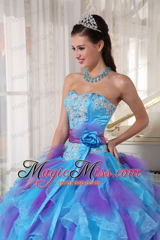 eb50cdd1b2e ... wholesale baby blue and purple ball gown strapless floor-length organza  appliques quinceanera dress ...