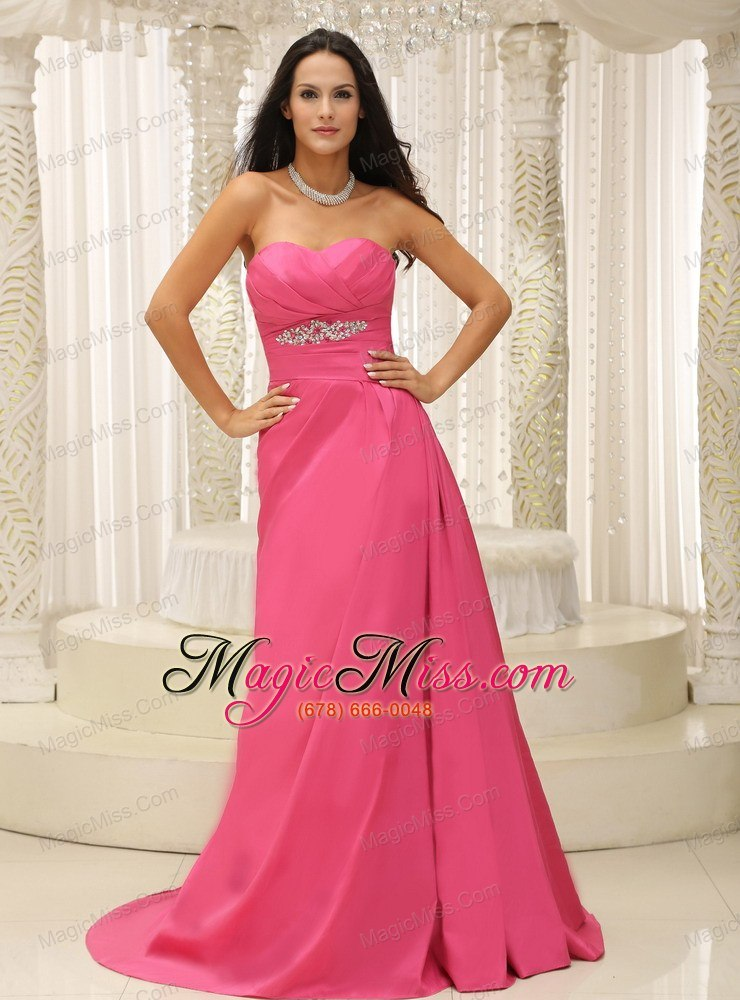 Rose Pink Sweetheart Ruched Bodice Satin Appliques For Prom Dress ...