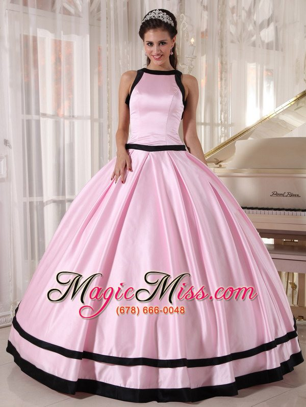 Baby Pink and Black Ball Gown Bateau Floor-length Taffeta ...