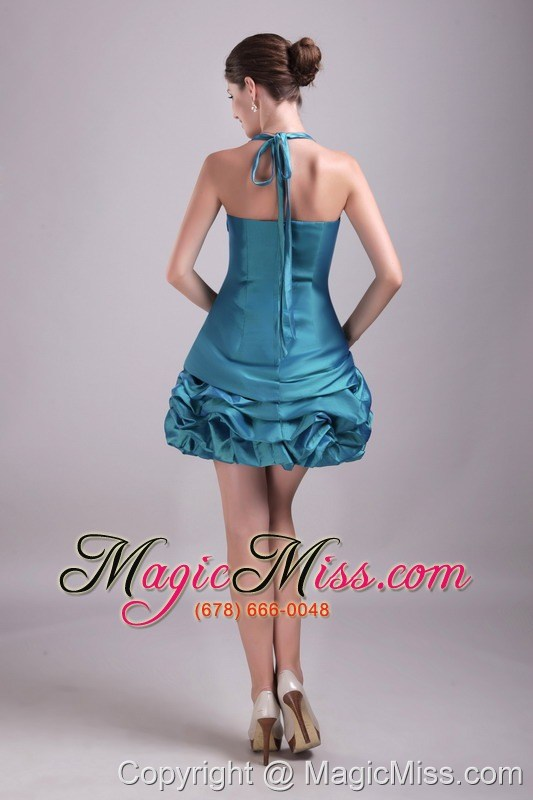 wholesale teal a-line / princess halter mini-length taffeta rhinestone prom / cocktail dress