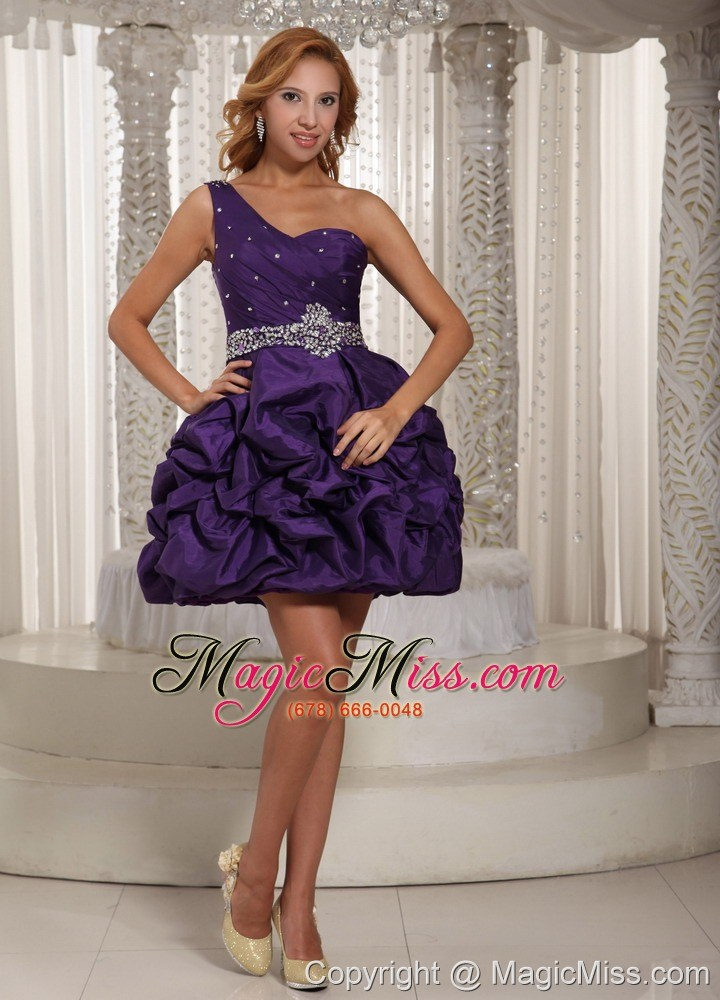 wholesale eggplant purple one shoulder beading and pick-ups mini-length prom dress for party