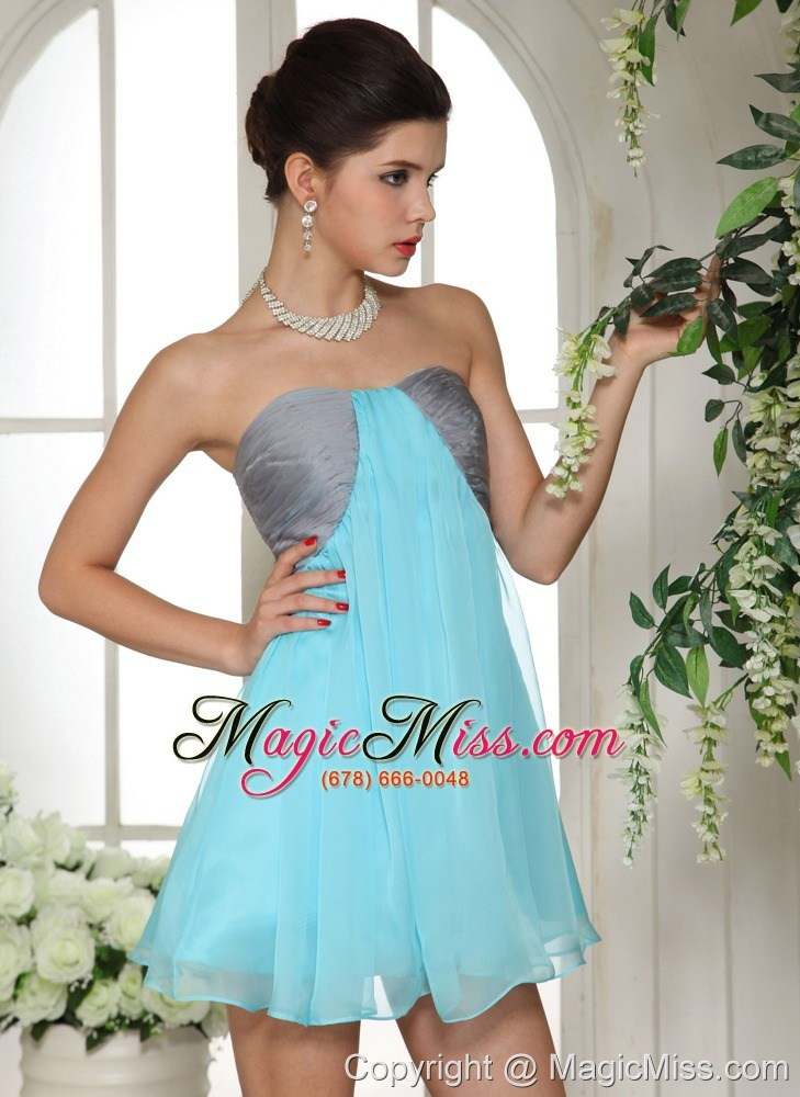 wholesale aqua blue and grey mini-length club cocktail / homecoming dress in moberly