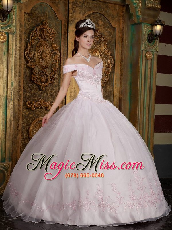 1452b231fe6 wholesale light pink ball gown off the shoulder floor-length appliques  organza quinceanera dress ...