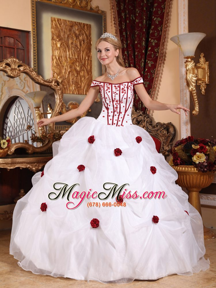54c7605919d wholesale white ball gown off the shoulder floor-length taffeta and organza  embroidery quinceanera dress ...