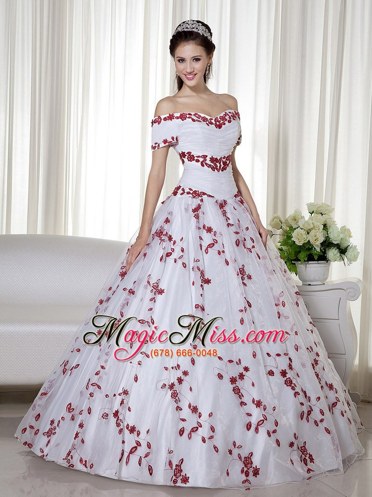 e8925e25fa9 wholesale white and red ball gown off the shoulder floor-length taffeta and organza  embroidery ...