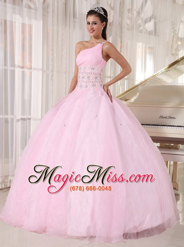Baby Pink Ball Gown One Shoulder Floor Length Tulle