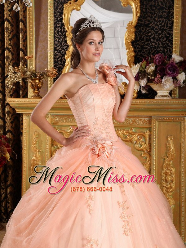 174c3090d43 ... wholesale light pink ball gown one shoulder floor-length appliques  tulle champagne quinceanera dress ...