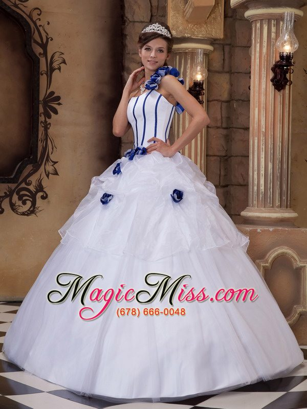 White Ball Gown One Shoulder Floor-length Satin and Tulle Hand Made ...