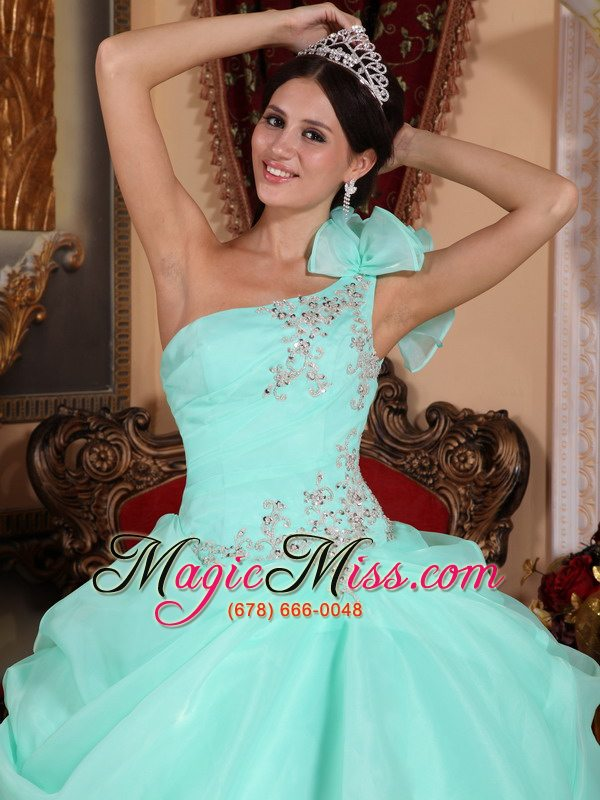Apple Green One Shoulder Dresses