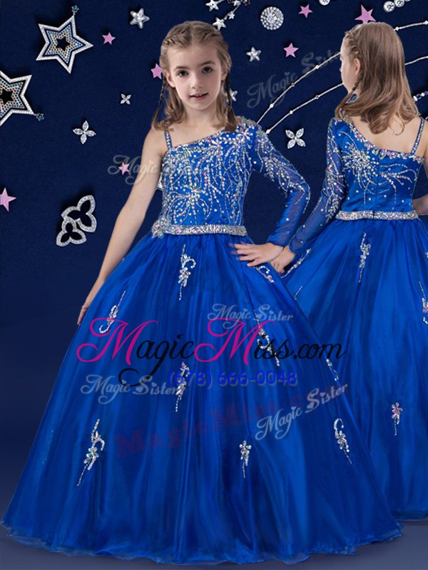 Super Ball Gowns Little Girls Pageant Gowns Royal Blue Bateau ...