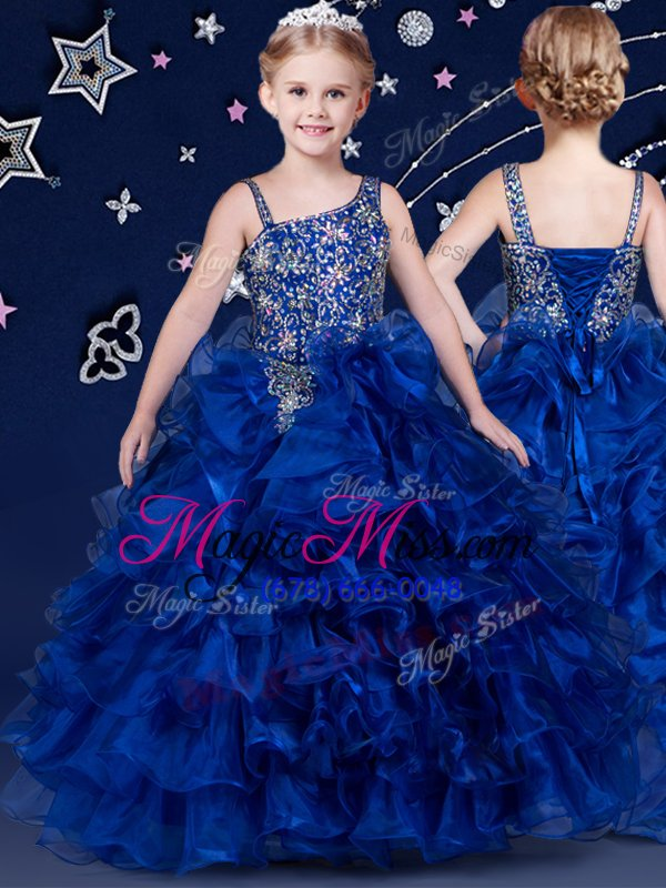 dramatic royal blue and purple and orange child pageant