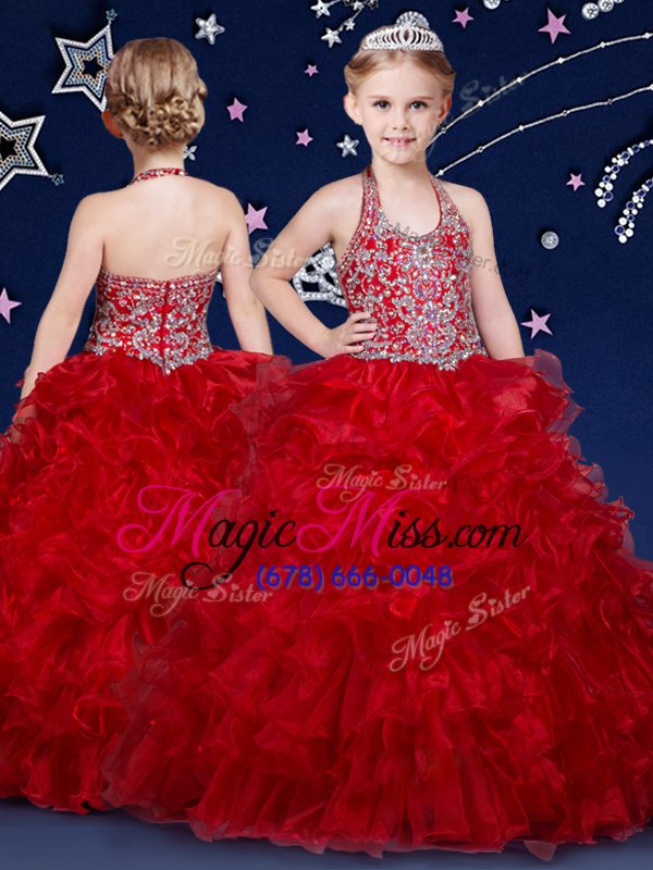 Best Halter Top Wine Red Ball Gowns Beading and Ruffles Little Girls ...