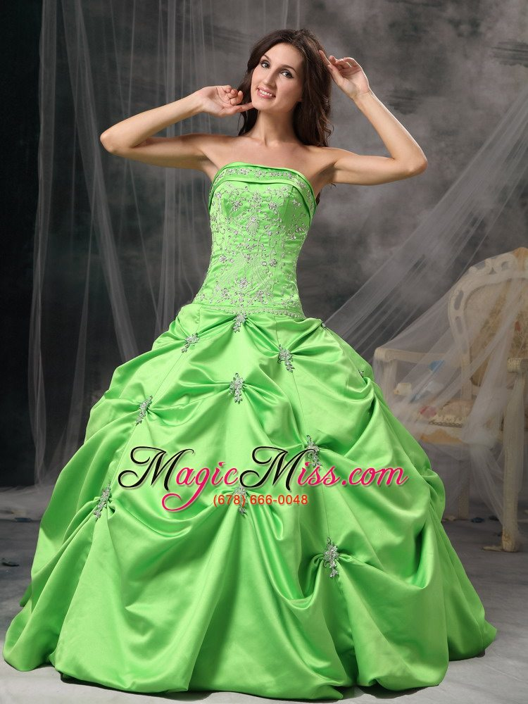 c7af2f1f83b Spring Green Ball Gown Strapless Floor-length Taffeta Beading ...
