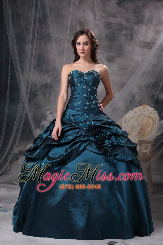 60b501d27e2 wholesale teal taffeta sweetheart appliques lace up for quinceanera dress  ...