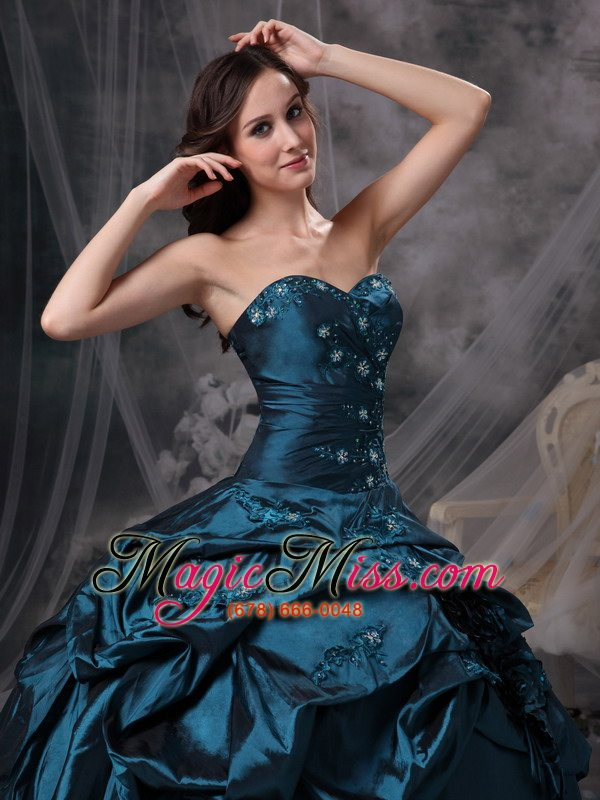 3aebf1641ec ... wholesale teal taffeta sweetheart appliques lace up for quinceanera  dress ...
