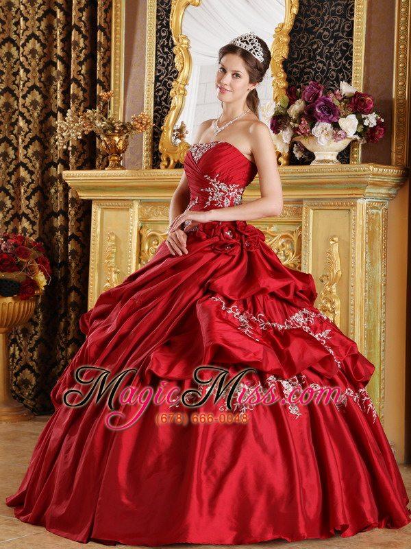 8b97bd1b2d wholesale wine red ball gown strapless floor-length taffeta appliques  quinceanera dress ...