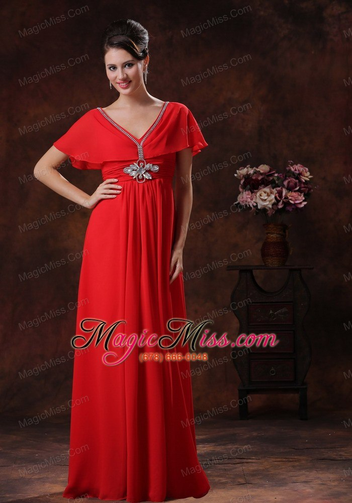 Custom Made Red V Neck Chiffon Prom Dress With Short Sleeves In 2013