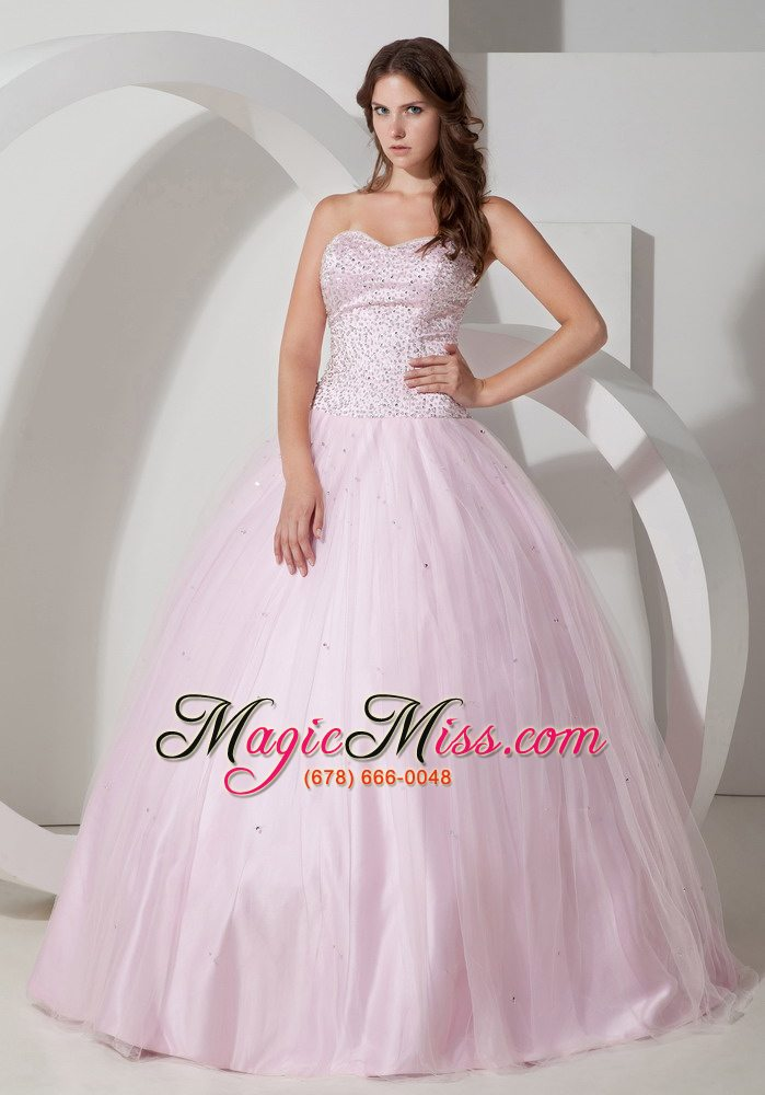 Baby Pink Ball Gown Sweetheart Floor-length Tulle Beading ...