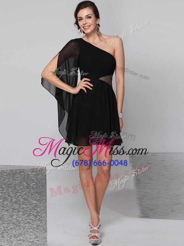 fd02ea67a96 Gorgeous One Shoulder Black Empire Sequins Prom Dress Side Zipper Chiffon  Half Sleeves Knee Length