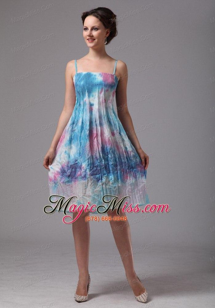 Printing Spaghetti Straps Knee-length Homecoming Dress For Custom ...