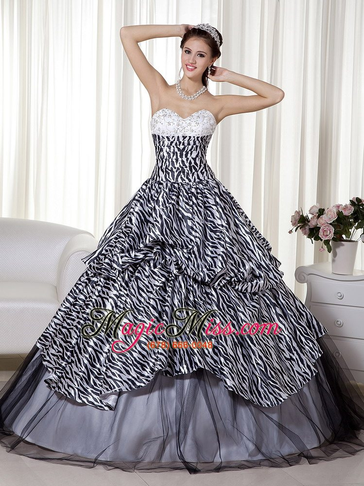 wholesale luxurious a-line / princess sweetheart floor-length zebra and organza beading and ruch quinceanera dress