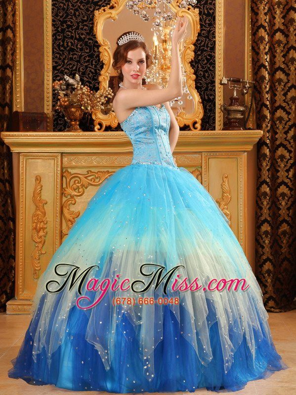 9e00ed67203 wholesale gorgeous ball gown sweetheart floor-length beading satin and  organza blue quinceanera dress ...