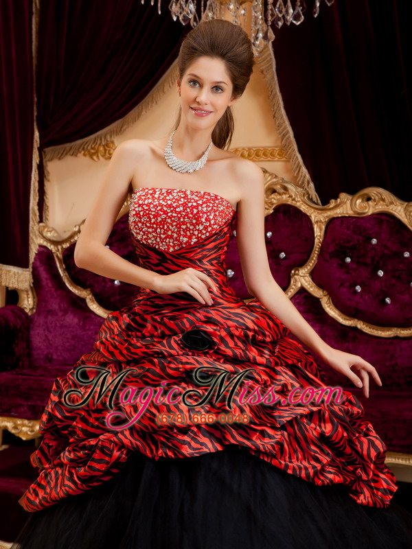 wholesale red and black strapless ball gown floor-length zebra and tulle hand made flowers quinceanera dress